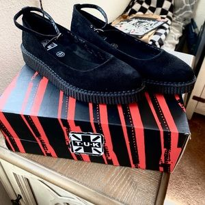 TUK Black Pointed Ballet Ankle Strap Creepers